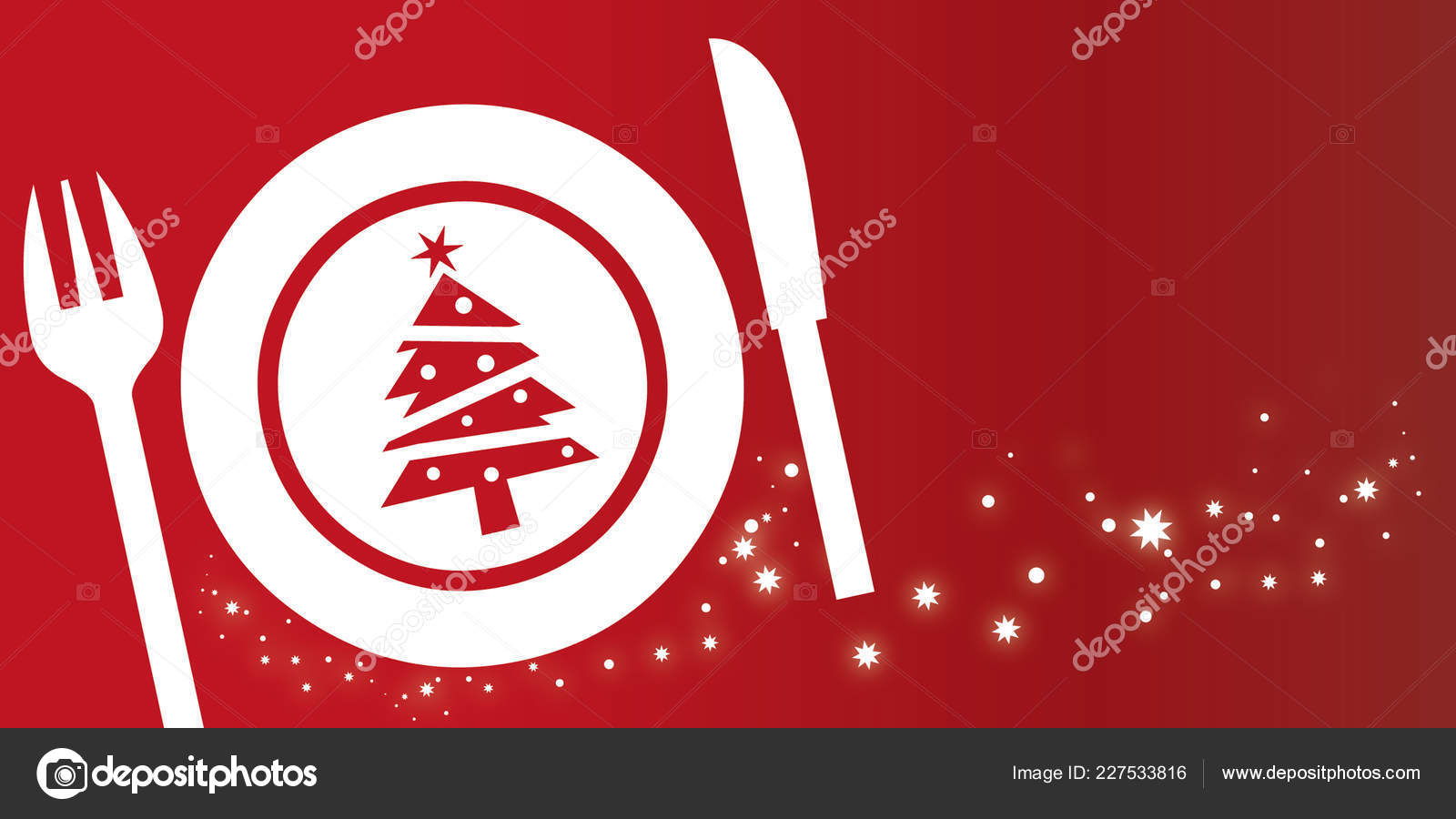 Christmas Dish Composition Red Background Glittering Stars Christmas