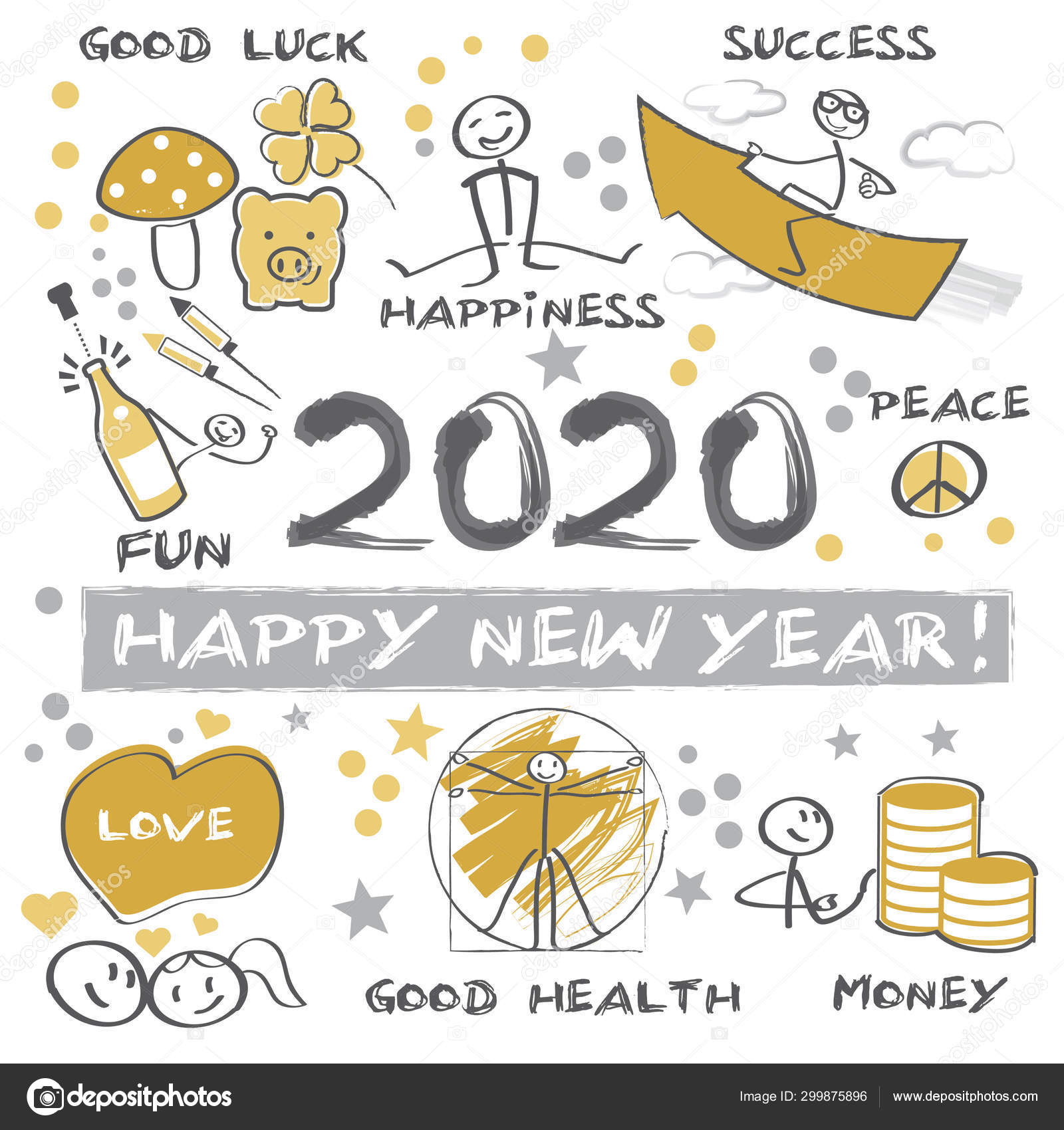 Happy New Year 2020 Greeting Card Stock Vector