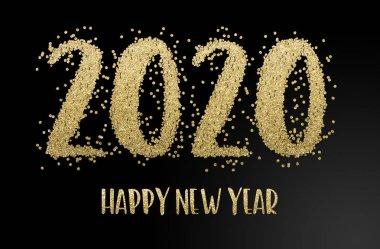 Happy New Year 2020. Golden confetti
