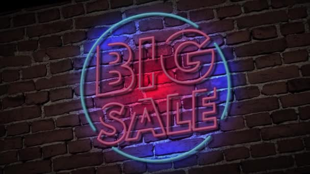 big sale neon sign lighting on brick wall background