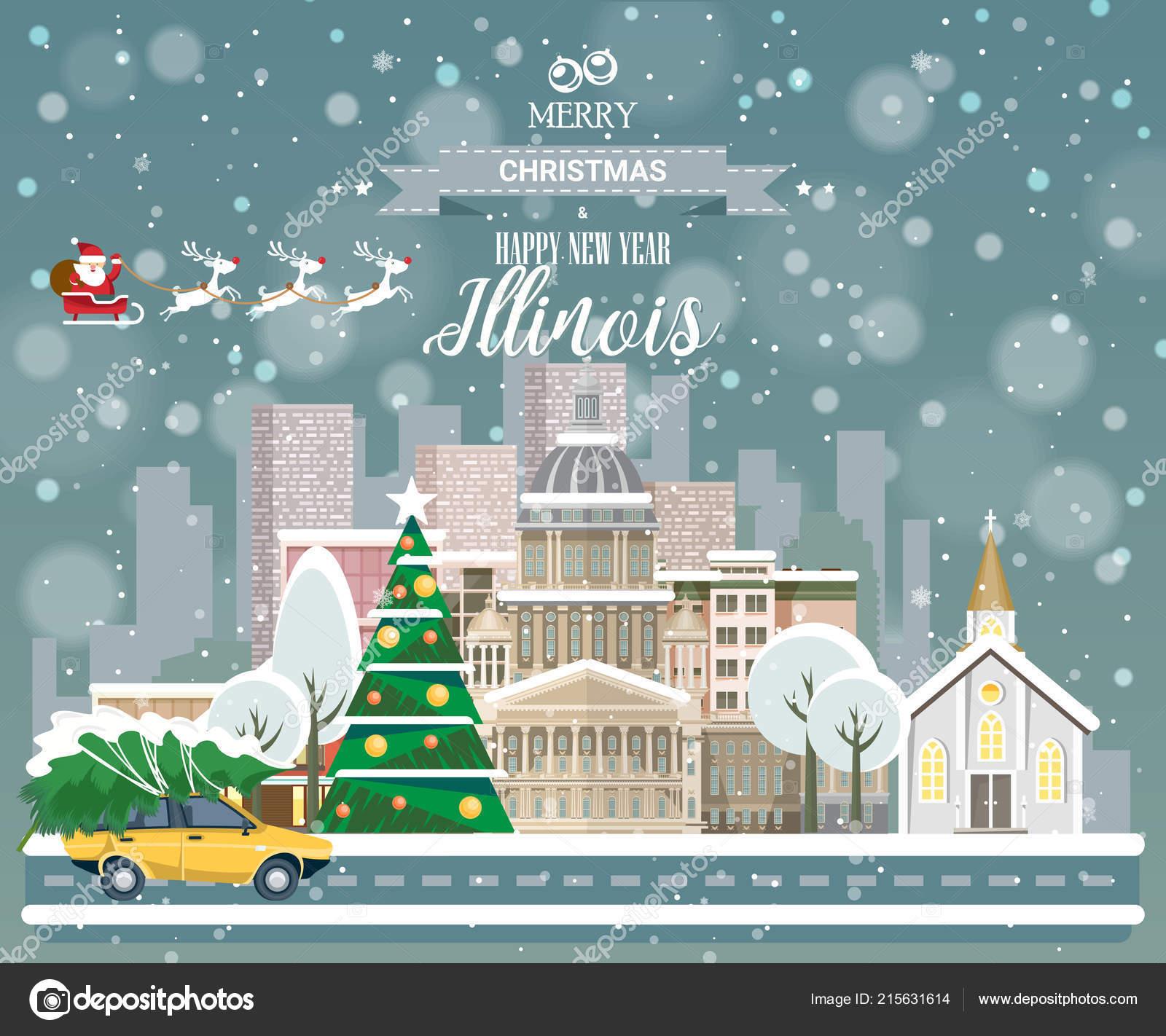 merry christmas happy new year illinois greeting festive card usa stock vector
