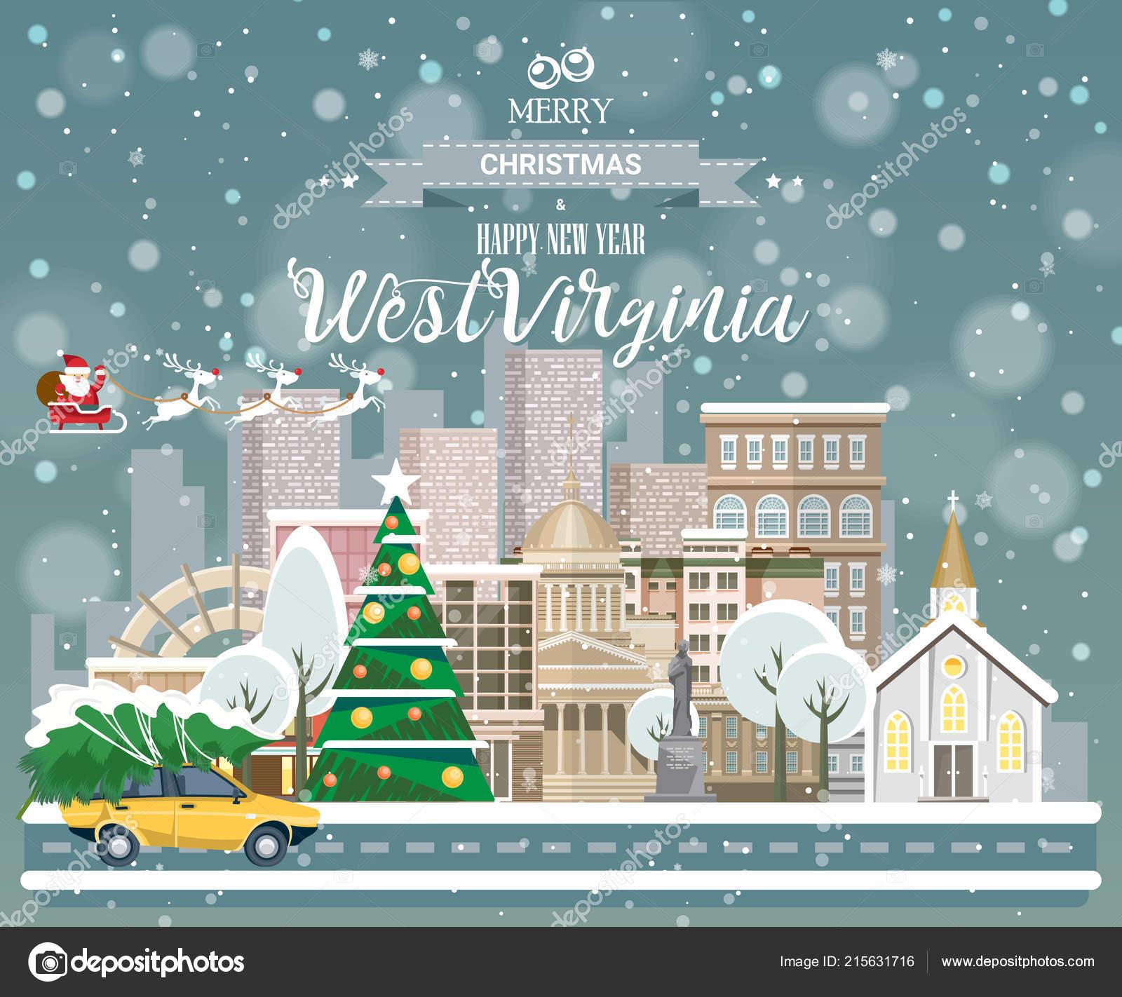Merry Christmas Happy New Year West Virginia Greeting Festive Card ...