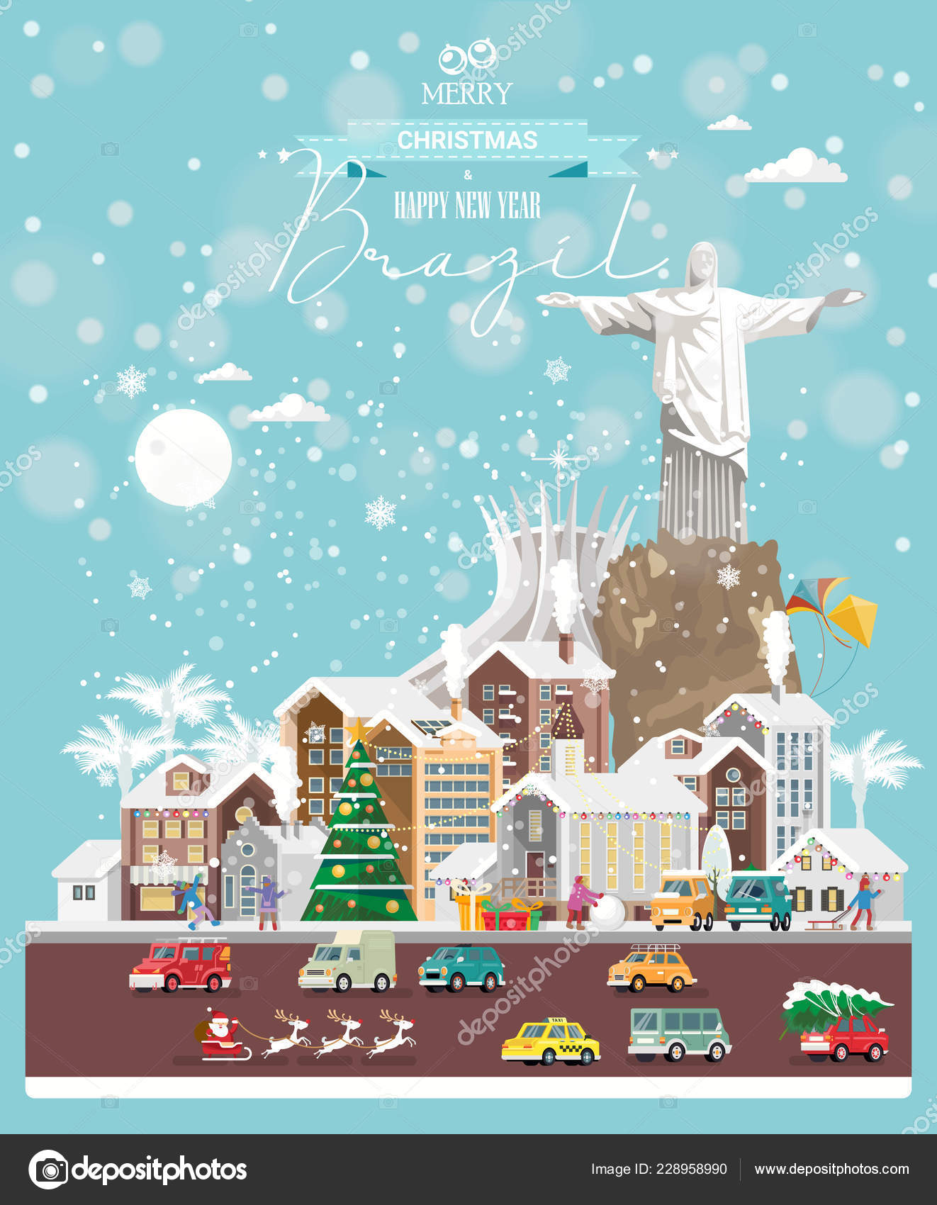 Christmas wishes from Brazil. Modern vector greeting card in flat style with snowflakes, winter city, decorations, cars and happy people.
