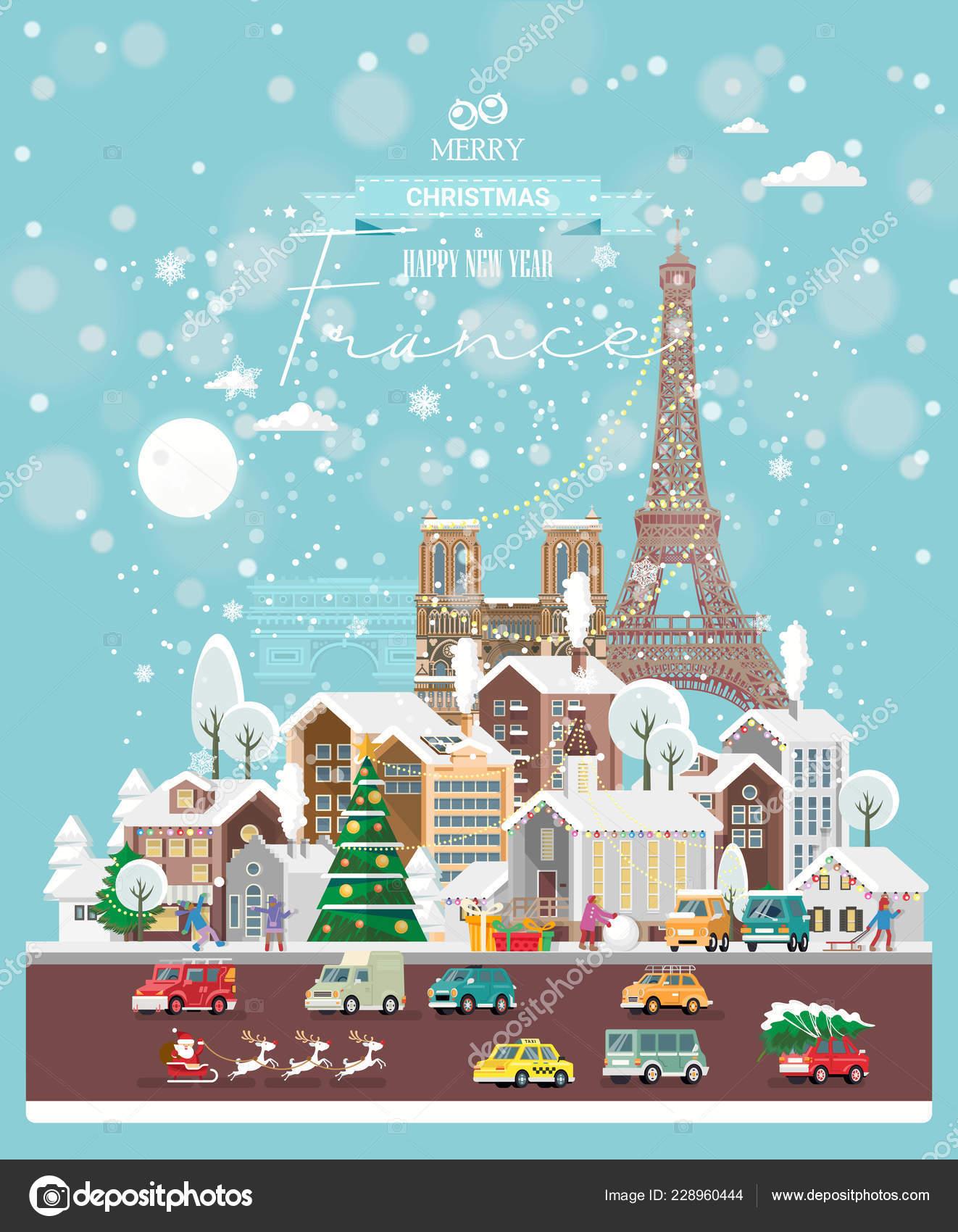 Weihnachtswünsche Modern.Weihnachtswünsche Aus Frankreich Moderne Vektor Grußkarte Flachen