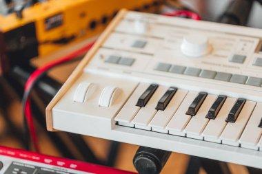 Electric piano in sound recording studio close up