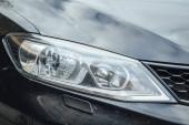 Car Headlight lamp in close up. Modern transport