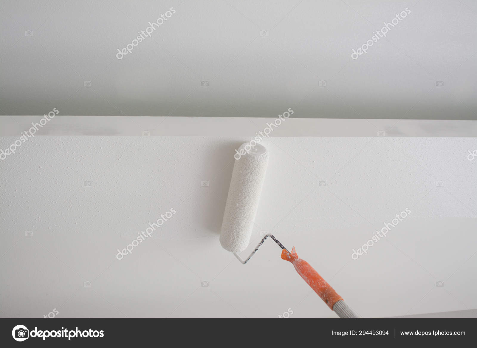 Painting A White Gypsum Plaster Ceiling With Paint Roller Stock Photo Image By C Yaryhee 294493094