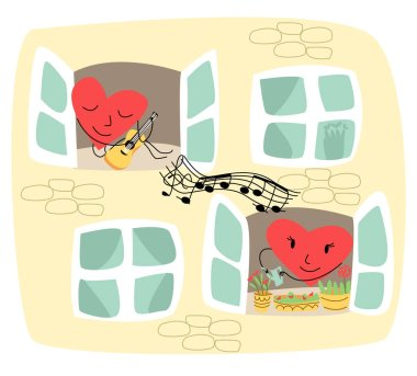 Vector illustration showing part of wall of house where in one window is lively heart that plays guitar