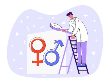 Vector flat illustration doctor standing on staircase and looking through magnifying glass at abstract symbols