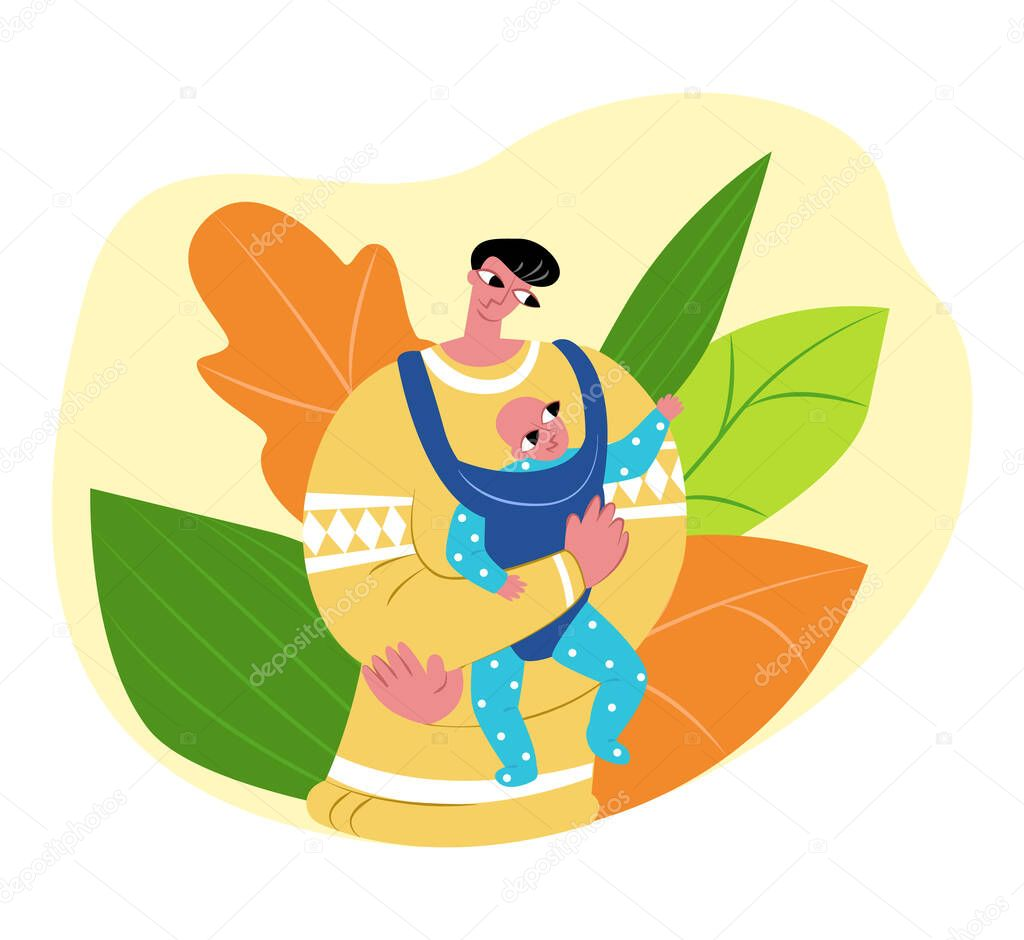 Vector Flat Illustration Happy Single Father With Baby In Children Carrier Abstract Plant Background Concept Fatherhood Child Care And Slings Can Be Used In Father S Day Cards Landing Pages Etc