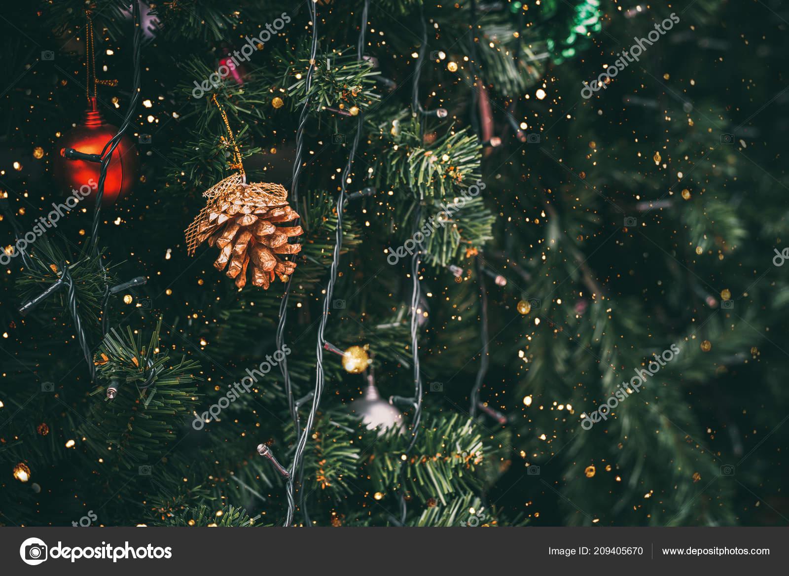 vintage christmas tree pine cone decoration sparkle light filter effect stock photo