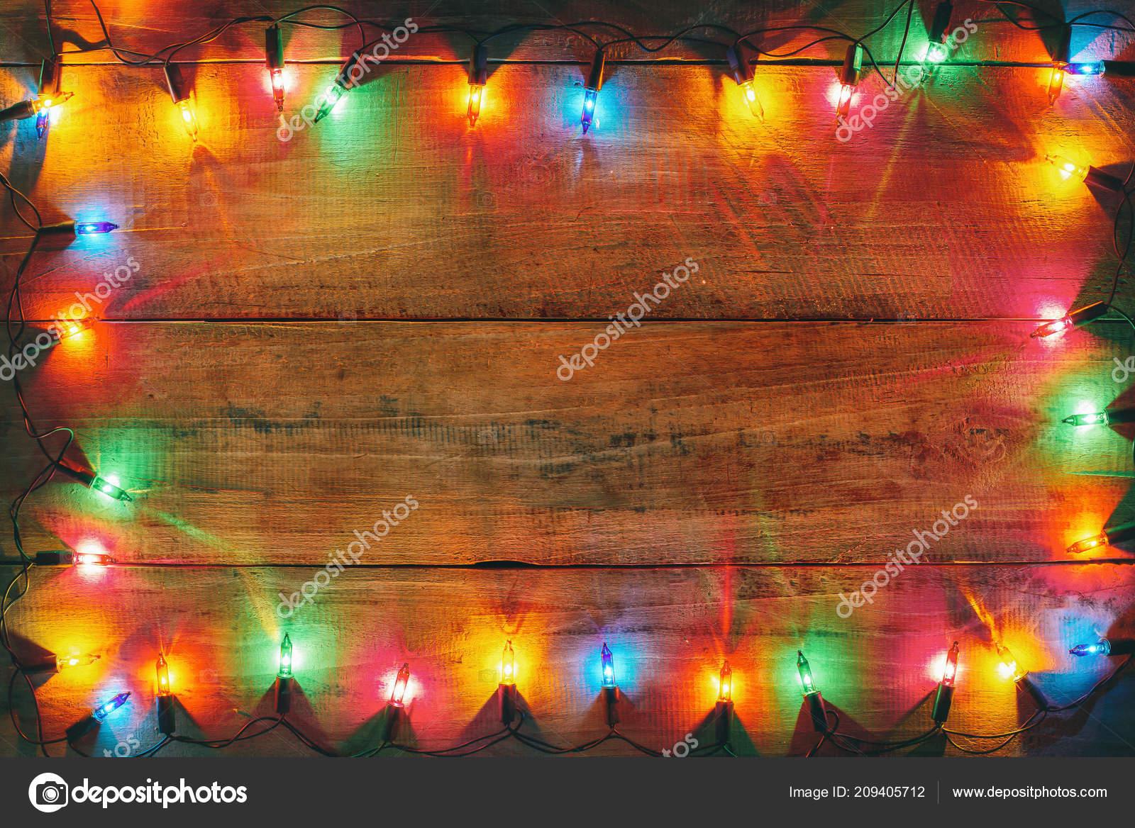 Vintage Christmas Lights.Vintage Christmas Lights Bulb Decoration Old Wood Plank