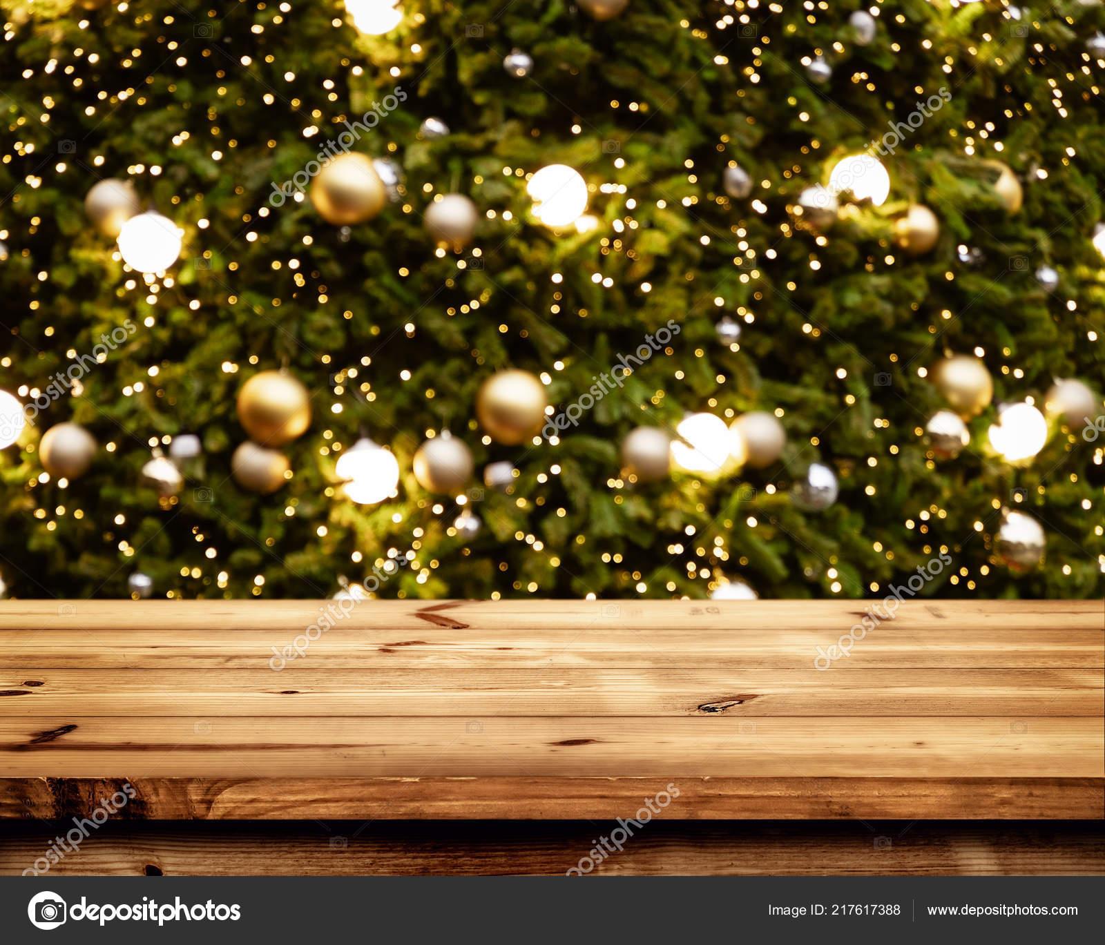 Fondo Navidad Año Nuevo Con Mesa Terraza Madera Vacía Sobre