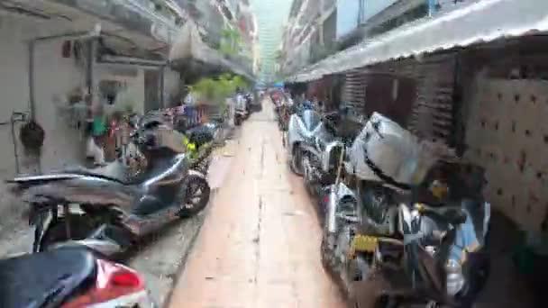 4K timewap timelapse old city public motorcycle park street old building in bangkok
