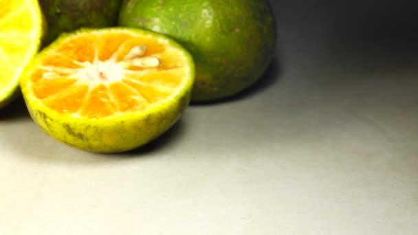 : 4K Marco shot of orange fruit and slide.Close up flesh citrus orange