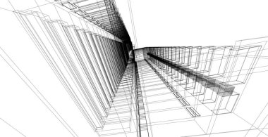 3D illustration architecture building perspective lines.