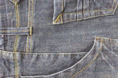Side Dark Blue Jeans Pocket or Denim Pocket and Yellow Thread Ba