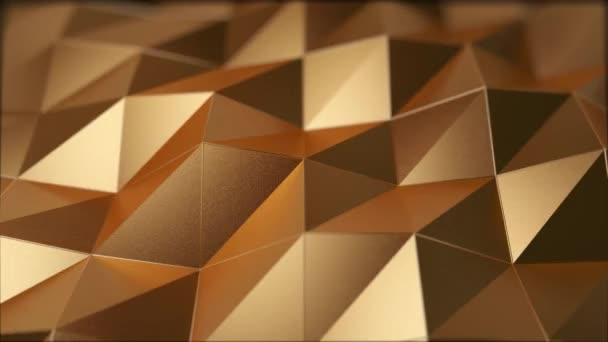 Abstraktní 3D video s pohyblivou plochou. Zlatá barva. 4k bezproblémová animace smyčky. Moderní trendy design.