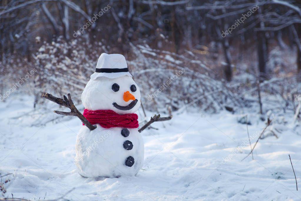 snowman on orange sunset background christmas santa