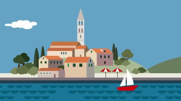 Paesaggio mediterraneo, piccola città, resort con spiaggia, onde del mare, in esecuzione di nuvole e barca a vela. Piatto dei cartoni animati in loop sfondo animato. Estate in viaggio