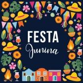 festa junina, brasilianische Juni-Party. Grußkarte, Einladung. Lateinamerikareise. Vektor Illustration Hintergrund mit Girlanden von Fahnen, Feuer, Strohhüte, Sterne, Mais, Monstera und Sonnenblumen.