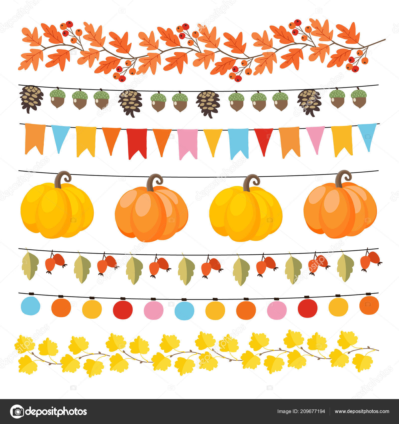 Fall Leaf Garland Clip Art Set Of Cute Autumn Fall Garlands With Lights Flags Acorns Leaves Pumpkins Pine Cones And Rose Hips Collection Of Thanksgiving Garden Party Decorations Isolated Vector Objects