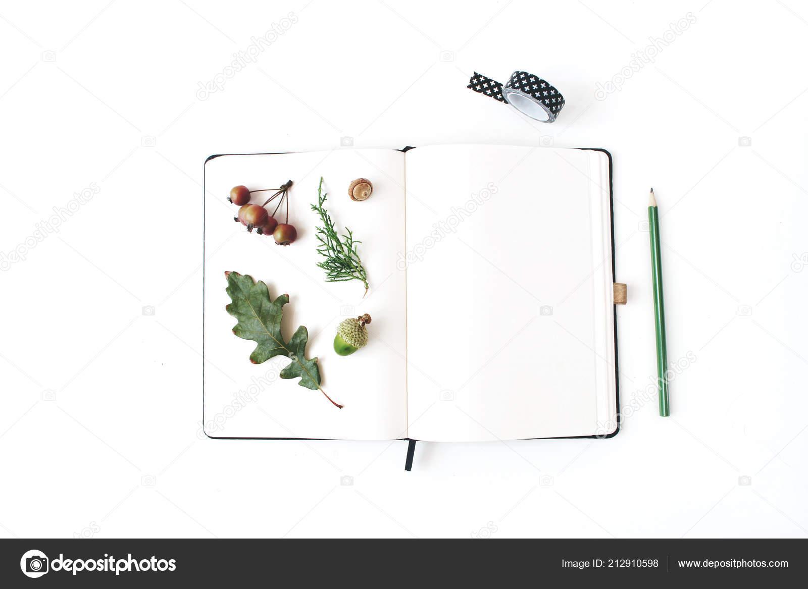 automne scène de maquette de papeterie de bureau. cahier vierge avec
