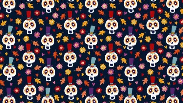 dia de los muertos oder halloween nahtlose Animation handgezeichneter Muster. Mexikanischer Tag der Toten. Dekorative Zuckerschädel, bunte Herbstblätter und Mutterblumen. Schlupflöcher.