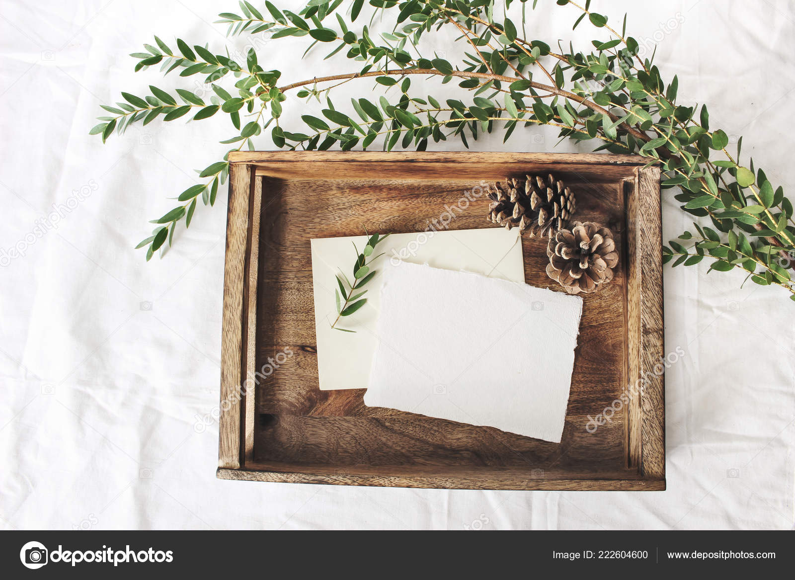Christmas or winter wedding mock-up scene. Blank cotton paper ...