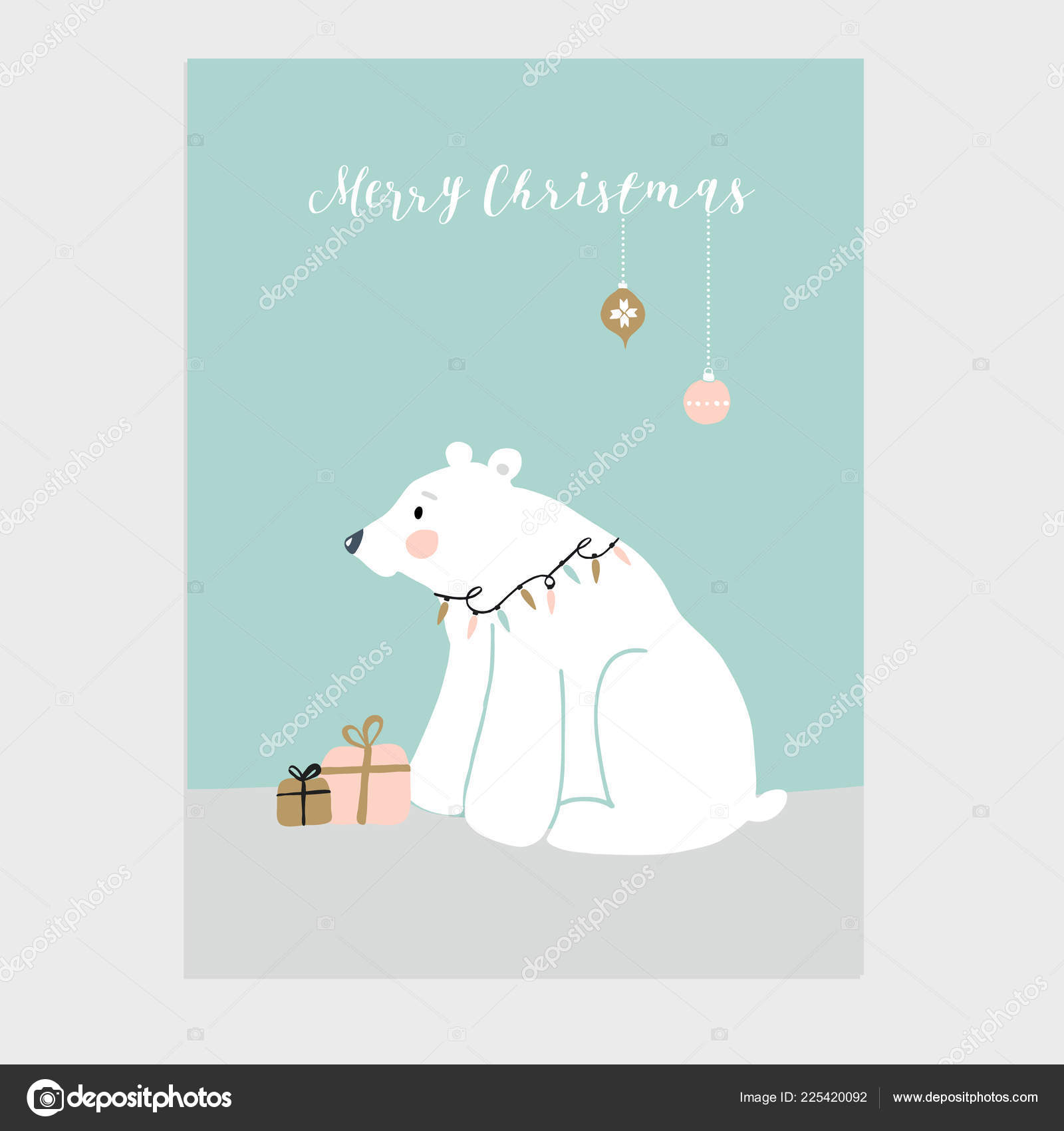 Christmas Wishes Bear.Cute Merry Christmas Greeting Card Invitation With Little