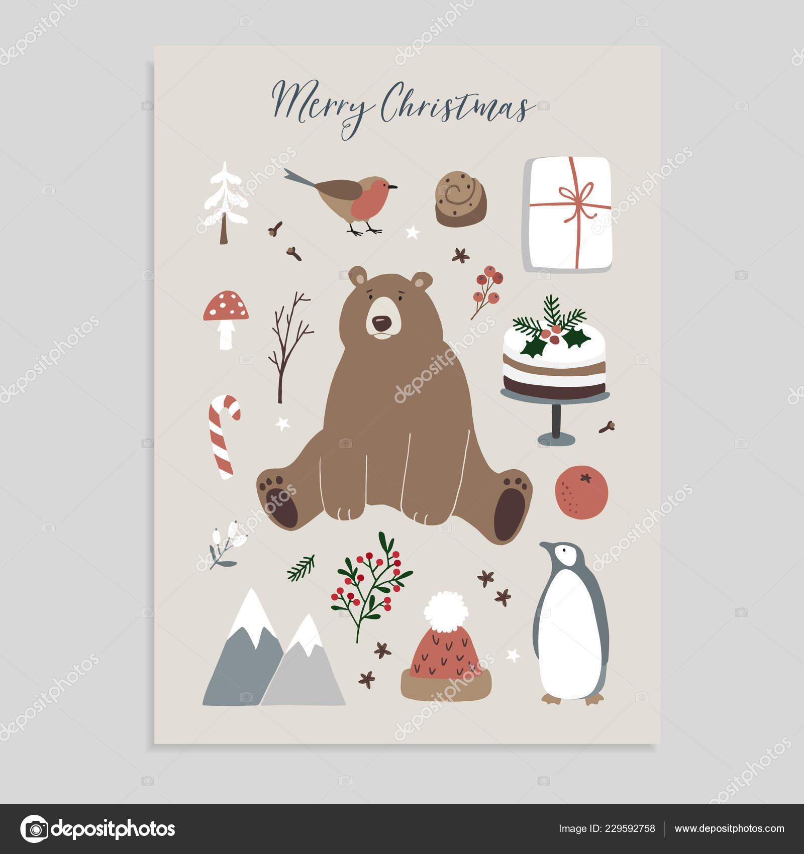 Feliz tarjeta de felicitación de Navidad, invitación. Conjunto de ...