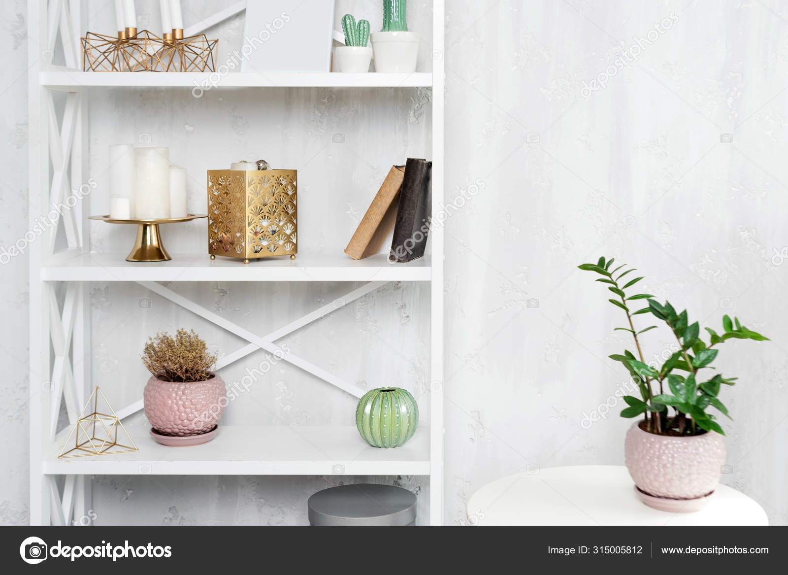Wooden Shelving Unit With Decor Near Grey Wall Bookcase With Photo Frame Mockup And Candles Living Room Interior Details Stock Photo C Magryt Artur 315005812