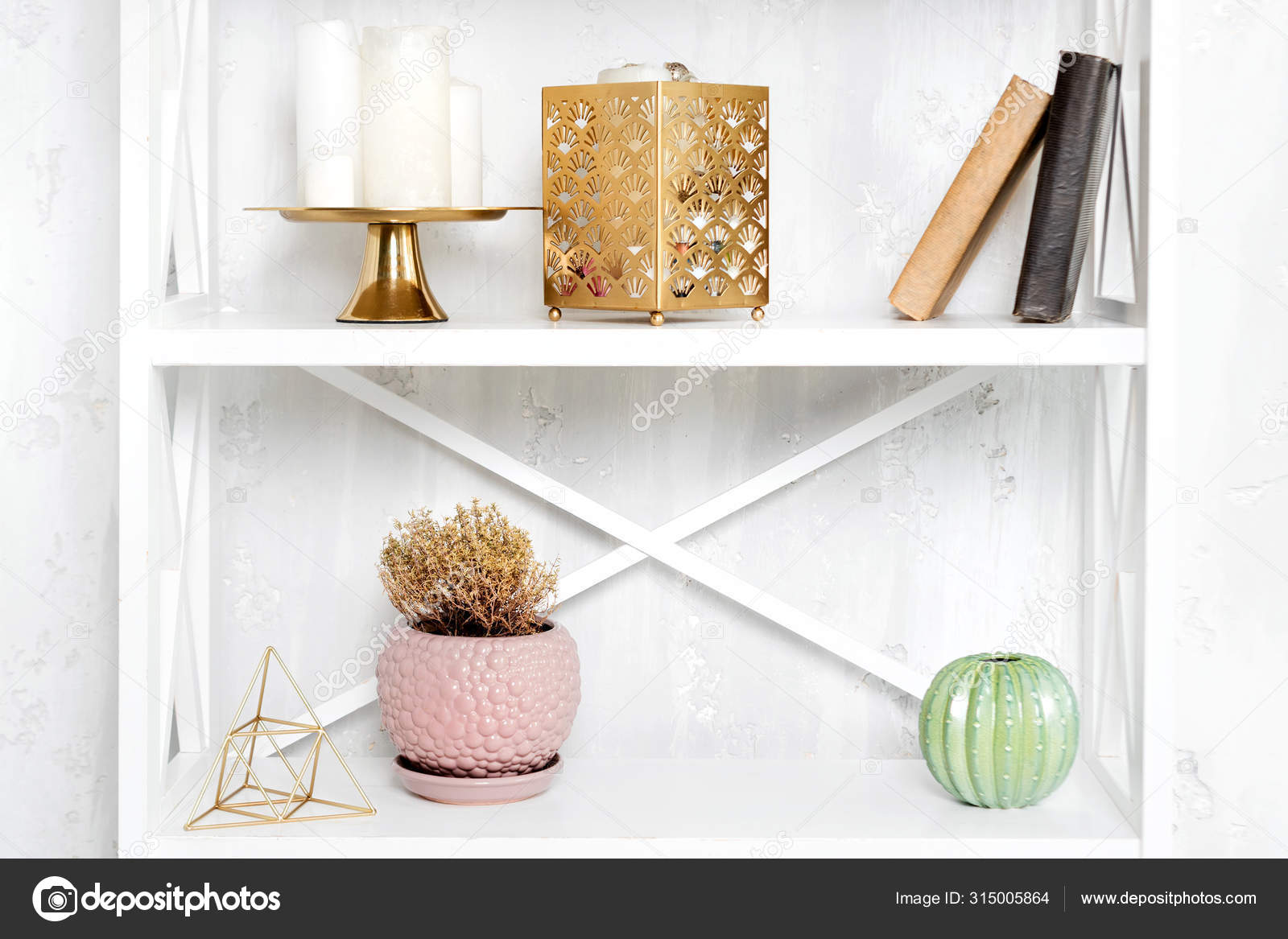 Wooden Shelving Unit With Decor Near Grey Wall Bookcase With Photo Frame Mockup And Candles Living Room Interior Details Stock Photo C Magryt Artur 315005864