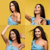 collage di bruna bella donna che mostra diverse emozioni isolate sul giallo