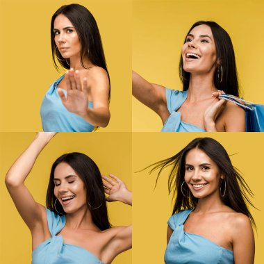 collage of brunette beautiful woman showing different emotions isolated on yellow