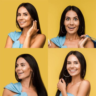 collage of brunette happy and excited woman isolated on yellow