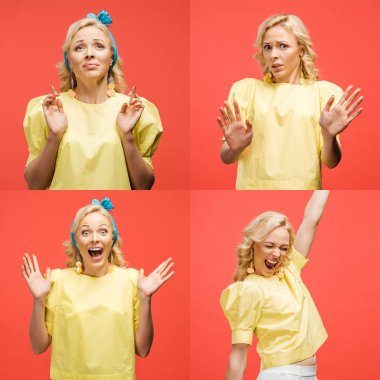 collage of blonde beautiful young woman in retro outfit showing various emotions and gestures isolated on red
