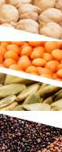 Collage aus Kichererbsen, Kürbiskernen, Linsen und Bohnen isoliert auf weiß