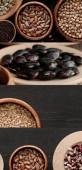 Fotografie Collage verschiedener Grütze und Bohnen auf schwarzem Holzgrund