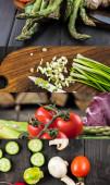 koláž z rajčat, chřestu, zelené cibule, hub a okurky na dřevěném tmavém stole