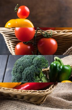 Collage of tomato, broccoli and bell pepper in wicker basket near sackcloth on wooden dark table stock vector