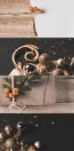 koláž rustikální hnědé látky s mořským trnem a cetkami, vánoční výzdoba