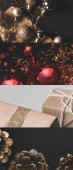 collage of shiny Christmas baubles, cones and wrapped gifts