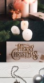 collage of Merry Christmas greeting card, candles, silver bauble gifts and fir branch