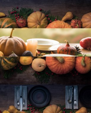 collage of Thanksgiving festive wooden table setting with pumpkins