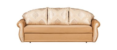 Beige sofa with fabric isolated on white background