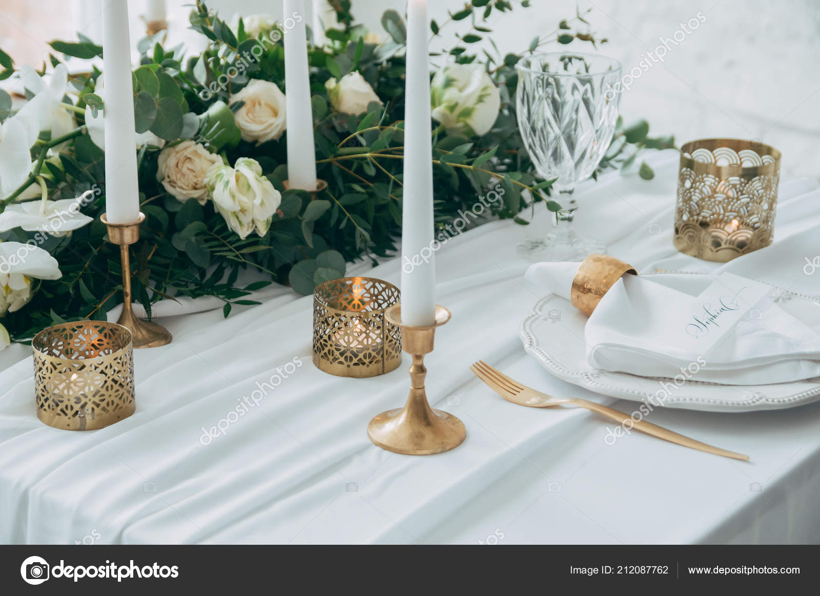 Wedding Decor Flowers Black Gold Decor Candles Stock Photo
