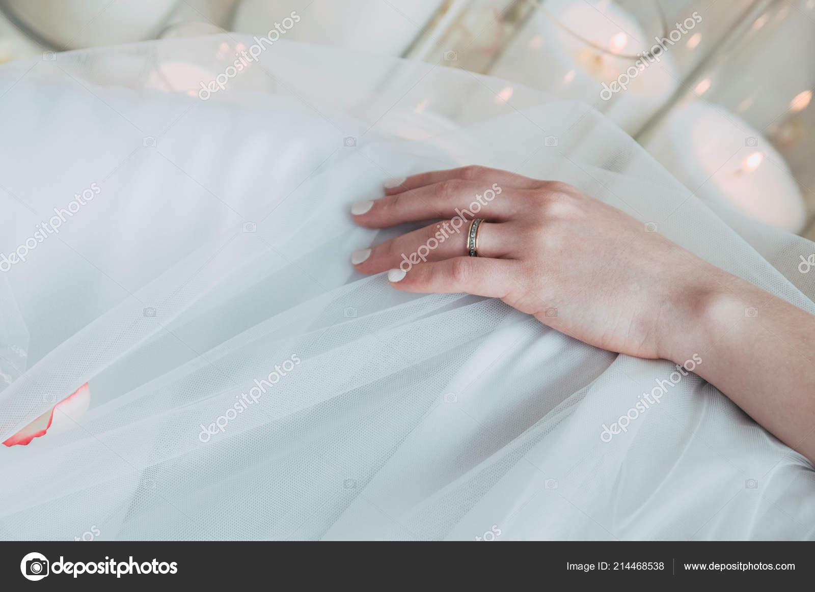 Bride Hand Beautiful Diamond Ring White Dress Stock Photo
