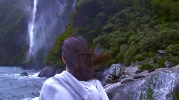 Girl in warm clothing, her hair was swaying in the air and she was watching the waterfall in Iceland.