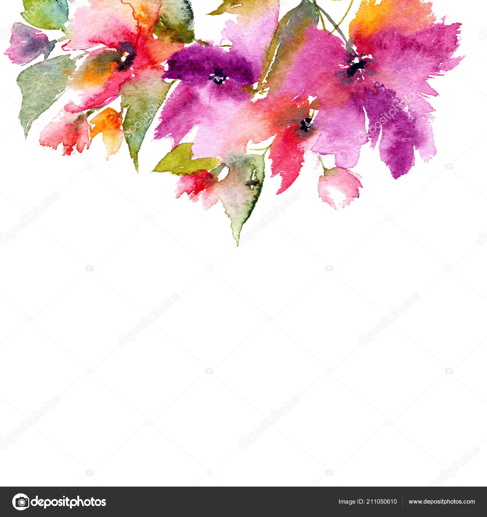 Bouquet Floral Flores Aquarela Para Cartão Modelo Convite